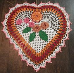 Lovely Handmade Crochet Lace Doily HEART, Multy-Color, 20x20