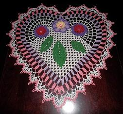 Lovely Handmade Crochet Lace Tablecloth-Doily HEART, Multi-C