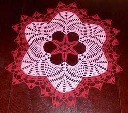 Lovely Handmade Crochet Tablecloth Doily, RED Colors, Round,