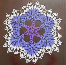 Lovely Handmade Crochet Tablecloth Doily,Violet Colors, Roun