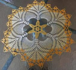 Lovely Handmade Crochet Tablecloth Doily, Yellow Colors, Rou