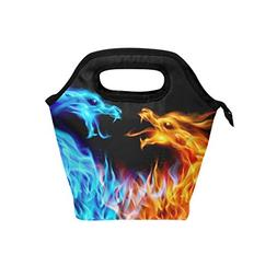 Bettken Lunch Bag Abstract Burnning Dragon Insulated Reusabl