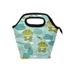 Bettken Lunch Bag Cute Frog Dragonfly Art Insulated Reusable