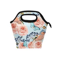 Bettken Lunch Bag Flower Rose Butterfly Bird Insulated Reusa