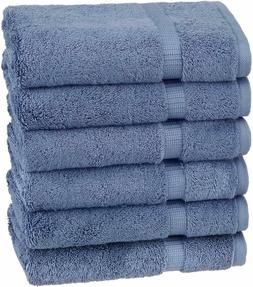 Luxurious Soft Organic Cotton Hand Towels, Set of 6, Indigo