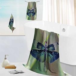 AuraiseHome Luxurious Soft and Thick Bath Towels Dragonfly