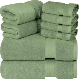 Luxurious Towel Sets 700 GSM Thick 8 Piece In Sage Green 2 B