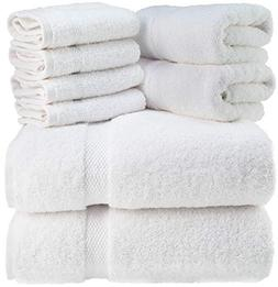 Luxury Bath Towel Set White - Combed Cotton Hotel Quality Hi