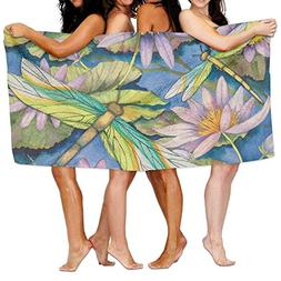 Luxury Bath Towels, Water Lilies And Dragonflies, Oversized