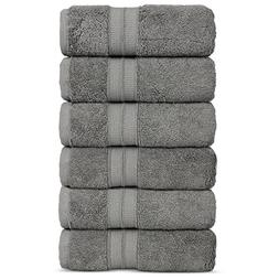 Luxury Premium Turkish Cotton 6-Piece Hand Towels, Long-Stab