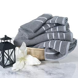 Combed Cotton Towel Set- Rice Weave 100% Combed Cotton 6 Pie