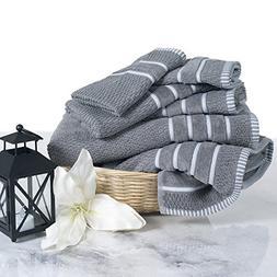 Combed Cotton Towel Set- Rice Weave 100% Combed Cotton 6 Pie