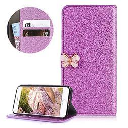 Luxury Glitter Butterfly PU Leather iPhone 6S Plus Flip Wall