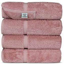 Luxury Hotel & Spa Bath Towel Turkish Cotton, Set of 4,Pink