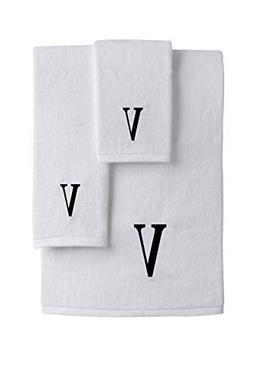 Luxury Hotel & Spa Monogrammed Towels 3-Piece Set, White, Ex