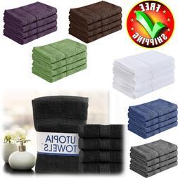 "Luxury Towel Set Utopia 4 Pack 16""x28"" 100% Cotton Hand Towe"