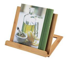mDesign Bamboo Adjustable Cookbook Holder Stand for Kitchen