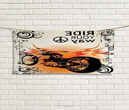 Anniutwo Manly,Hand Towel,Motorcycle Image Ride Your Way Tex