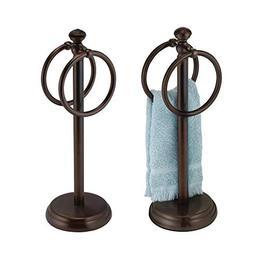 mDesign Decorative Metal Fingertip Towel Holder Stand for Ba