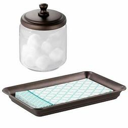 mDesign Glass Apothecary Jar and Guest Towel Tray for Bathro