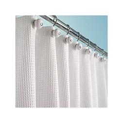 mDesign Long Polyester/Cotton Blend Fabric Shower Curtain wi