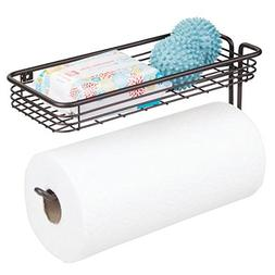 mDesign Paper Towel Holder with Shelf for Laundry, Kitchen,