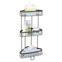 mDesign Three-Tier Freestanding Wire Bathroom Storage Shelf