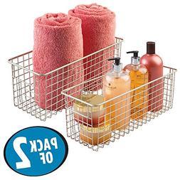 mDesign Wire Storage Basket for Bath Towels, Shampoo, Health