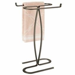 mDesign Metal Hand Towel Holder Stand for Bathroom Vanity Co