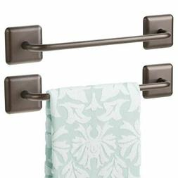 mDesign Metal Hand Towel Storage Bar, Strong Self Adhesive,