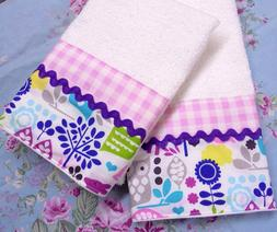 MICHAEL MILLER fabric DECORATED Hand Towels Gingham / OWLS