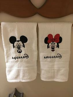 MICKEY AND MINNIE MOUSE, HAND TOWELS, MACHINE EMBROIDERED