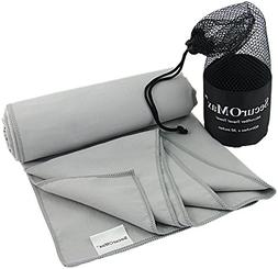 Microfiber Travel Sports Towel  with Portable Mesh Bag - Sof