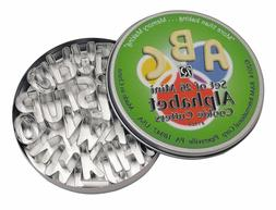MINI ALPHABET 26 PIECE COOKIE CUTTER SET WITH TIN FROM R&M I