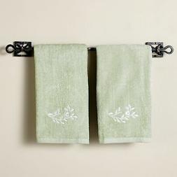 Mint Green Madeleine Bathroom Hand Towels - Set of 2 Washclo