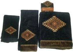 Avanti Linens Mojave bath set black brown towels curtain bat