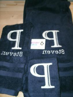 Monogram Engraved Letter  Personalized 3 Piece Bath Towel Se