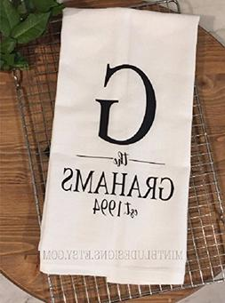 Monogrammed Farmhouse Tea Towel | Personalized Linens | Kitc