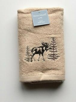 Moose Hand Towels Set of 2 Pine Trees Embroidered Christmas