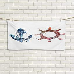 Chaneyhouse Nautical,Hand Towel,Illustration of an Anchor an