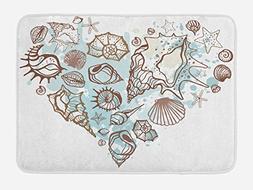 Ambesonne Nautical Bath Mat, Hand Drawn Seashells Scallop St