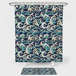 Nautical Decor Shower Curtain And Floor Mat Combination Set