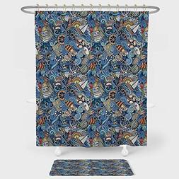 iPrint Nautical Decor Shower Curtain And Floor Mat Combinati