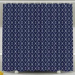 Navy Anchors Shower Curtain Fabric Bathroom Shower Curtain S