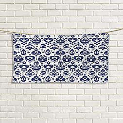 Navy Blue fancy hand towels Traditional Asian Ikat Pattern A
