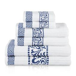 6 Piece Navy Blue Floral Towel Set With 30 X 52 Inches Bath