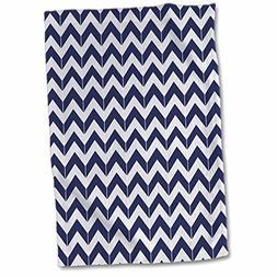 "3dRose Navy Blue and White Chevron Herringbone Towel, 15"" x"