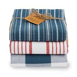 "Mud Pie Navy Dish Towel Set of Three 20"" x 28"""