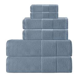 6 Piece Navy Geometric Solid Color Waffle Design Towel Set W