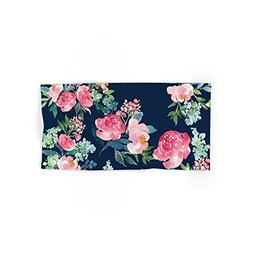 "Society6 Navy And Pink Watercolor Peony Hand Towel 30""x15"""